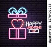 valentine day neon | Shutterstock .eps vector #1278401263