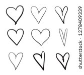 hand drawn grunge hearts on... | Shutterstock . vector #1278409339