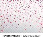 Stock vector heart confetti falling on transparent background flower petal in shape of heart valentines day 1278439360