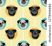 Stock vector cute cartoon pug faces in large polka dot seamless pattern turquoise and yellow vector design 1278446686
