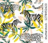 tropical leopard  zebra animal  ... | Shutterstock .eps vector #1278452623