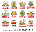 mexican food icons with fast... | Shutterstock .eps vector #1278452713