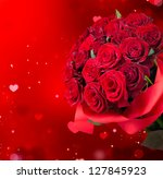 Stock photo roses bouquet and hearts background valentine or wedding card red valentines day design bunch of 127845923
