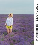 young girl posing in a lavender ... | Shutterstock . vector #1278461830