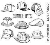 set of sketches of summer hats... | Shutterstock .eps vector #1278473020