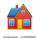 red house isolated icon | Shutterstock .eps vector #1278484849