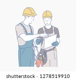 two men wearing safety hat on... | Shutterstock .eps vector #1278519910