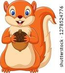 Stock vector cartoon squirrel holding nut 1278524776