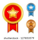 medals with a star  vector... | Shutterstock .eps vector #127853579
