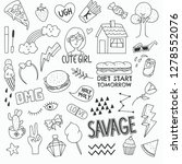 various cute object in doodle... | Shutterstock .eps vector #1278552076