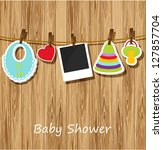 greeting with a baby elements.... | Shutterstock .eps vector #127857704
