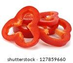 Red Pepper Slices On White...