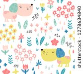 seamless pattern with funny dog ... | Shutterstock .eps vector #1278634840