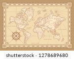 classic style of world map with ... | Shutterstock .eps vector #1278689680
