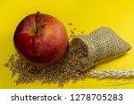 red apple  fresh raw wheat... | Shutterstock . vector #1278705283