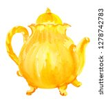 yellow ceramic teapot for tea... | Shutterstock . vector #1278742783