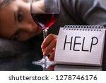 female alcoholism concept....   Shutterstock . vector #1278746176