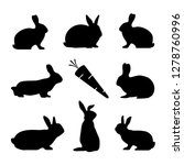 rabbit silhouettes and carrot   ... | Shutterstock .eps vector #1278760996