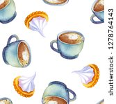 watercolor coffee macchiato cup ...   Shutterstock . vector #1278764143