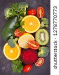 fresh natural fruits and... | Shutterstock . vector #1278770773