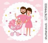baby shower greeting card.... | Shutterstock .eps vector #1278799003