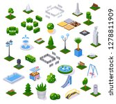 set of objects city park with... | Shutterstock .eps vector #1278811909