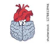 heart vs brain. concept of mind ...   Shutterstock . vector #1278813946