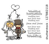 cartoon wedding picture | Shutterstock .eps vector #127882118