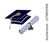 certificate icon graduation cap ... | Shutterstock .eps vector #1278825406