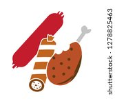 food flat icon sausage symbol... | Shutterstock .eps vector #1278825463