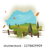 a rural landscape scene of a... | Shutterstock . vector #1278829909