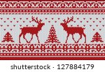 red knitted sweater with deer... | Shutterstock .eps vector #127884179
