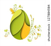 floral easter egg. green nature.... | Shutterstock .eps vector #127884584