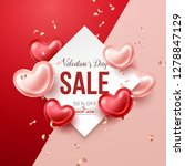 valentines day sale banner with ... | Shutterstock .eps vector #1278847129