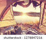 view over man body in camping... | Shutterstock . vector #1278847216