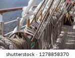 old classic tall ship part deck ...   Shutterstock . vector #1278858370