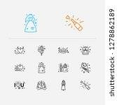 love icons set. proposal ring...