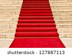 red carpet leading up the stairs | Shutterstock . vector #127887113