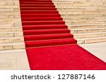 red carpet leading up the stairs | Shutterstock . vector #127887146