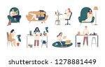 bundle of young men and women...   Shutterstock . vector #1278881449
