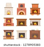 glowing fireplace from stone ... | Shutterstock .eps vector #1278905383