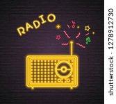 radio icon neon light glowing...   Shutterstock .eps vector #1278912730