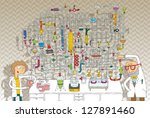 laboratory maze game in colours ... | Shutterstock .eps vector #127891460