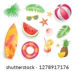 summer tropical items set... | Shutterstock .eps vector #1278917176