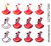 dancing woman set in red dress... | Shutterstock .eps vector #1278917200