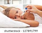 sick little girl holding... | Shutterstock . vector #127891799