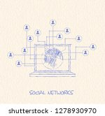 drawing pencil scheme of ... | Shutterstock .eps vector #1278930970