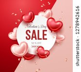 valentines day sale banner with ... | Shutterstock .eps vector #1278942616