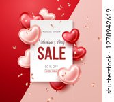 valentines day sale banner with ... | Shutterstock .eps vector #1278942619
