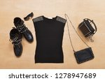 cotton rivets black shirt with... | Shutterstock . vector #1278947689